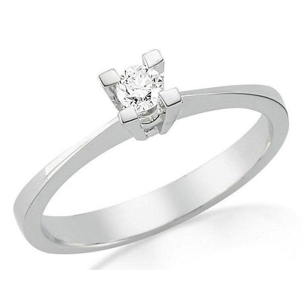 Witgouden verlovingsring met 0.10 ct diamant