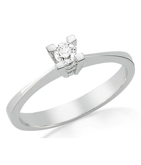 D-Diamonds  Witgouden verlovingsring met 0.10 ct diamant