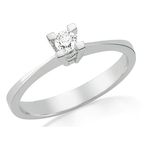 Witgouden verlovingsring met 0.15 ct diamant
