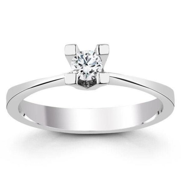 Witgouden verlovingsring met 0.20 ct diamant