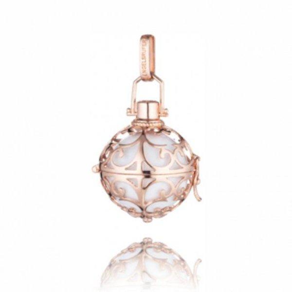 Engelsrufer Medaillon hanger S rosé verguld met klankbol wit