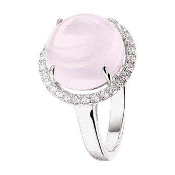 Ring roze kwarts en zirkonia