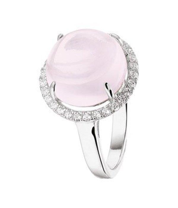 Diamant Centrum Rotterdam Huis collectie   Ring roze kwarts en zirkonia