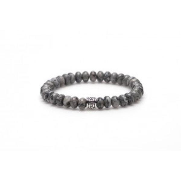 Crazy silver oval logo bead