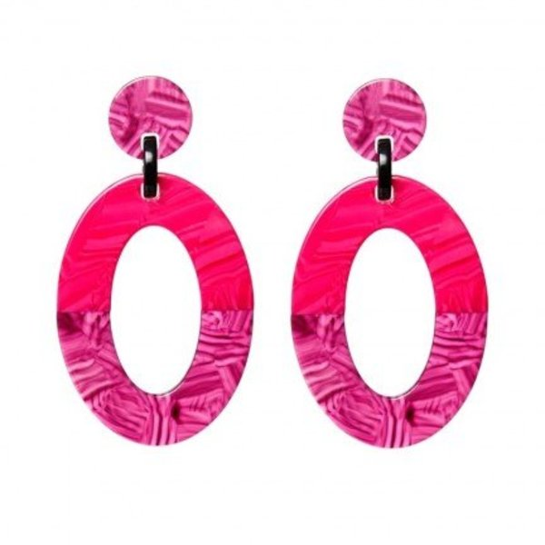 Biba oorbellen met een ovale setting en heeft een oorsteker. Breedte 3,8 cm Materiaal Zilverkleur Kleur Roze, Paars