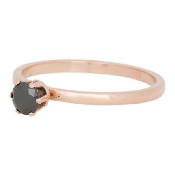IXXXI RING CROWN BLACK DIAMOND ROSE - R04205-02