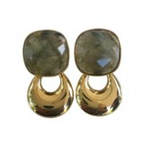 By jam gioielli  By Jam- vierkant labradoriet steen met gouden kleine hanger