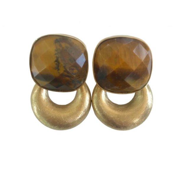 By Jam- vierkant tijgeroog steen met gouden kleine hanger