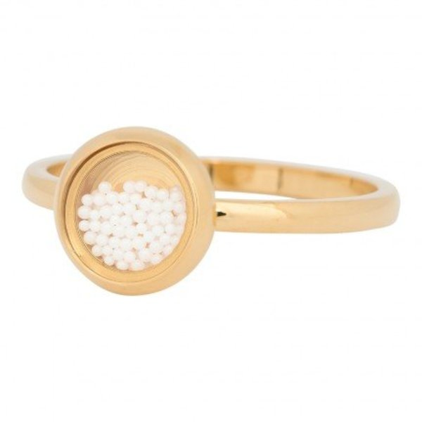 IXXXI RING FILL SMALL WHITE BALLS GOLD COLOR - R04317-01