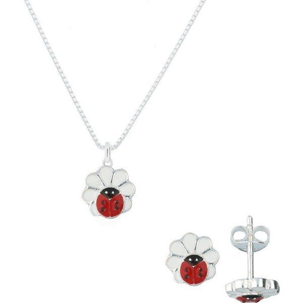 ketting inclusief hanger en oorknoppen - zilver - emaille - madelief - lieveheersbeestje - 38 cm