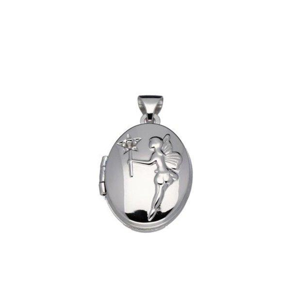 zilver gerodineerd - ovaal - engel met zirkonia