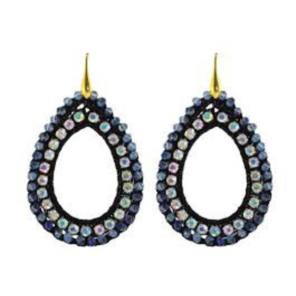 Black crochet open drops