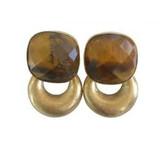 By jam gioielli  vierkant tijgeroog steen met gouden kleine hanger