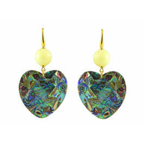 Paua hearts with lemon agate