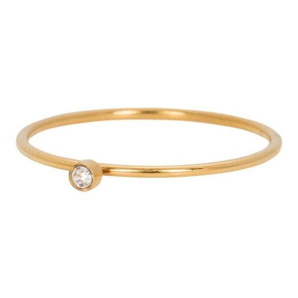 iXXXi Jewelry Zirconia 1 Stone Crystal 1mm Goudkleurig