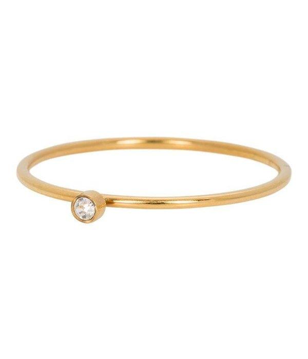 iXXXi iXXXi Jewelry Zirconia 1 Stone Crystal 1mm Goudkleurig
