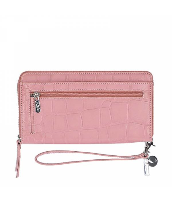 Loulou Essentiels  LouLou Essentiels SLBS Vintage Croco Portemonnee Rose