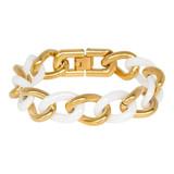 iXXXi Jewelry Stalen shiny armband in gold colour & white keramiek  Breedte 20mm  Leverbaar in lengtemaat 19 cm  Wordt geleverd in een luxe ixxxi giftbox