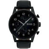 Hugo Boss  Hugo Boss Mens Navigator Watch All Black Ion Plated Steel & Leather 1513497