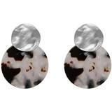 Biba  Biba leopard oorbellen zwart-creme | zilverkleurig