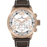 Marc Coblen Marc Coblen MC50R4- Horloge - 50 mm - Witte wijzerplaat - Bruine horlogeband
