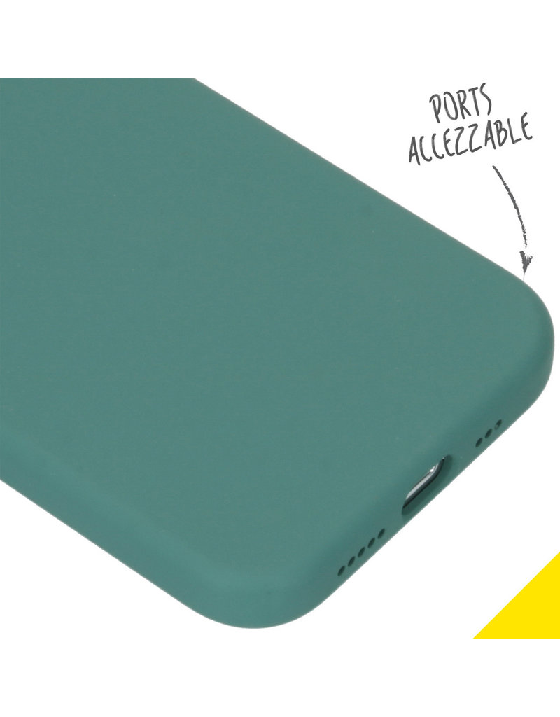 Accezz Accezz Liquid Silicone Case iPhone 12 (pro) donker groen