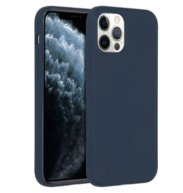 Accezz Accezz Liquid Silicone Case iPhone 12 (pro) donkerblauw