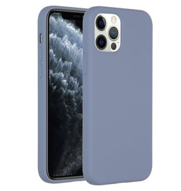 Accezz Accezz Liquid Silicone Case iPhone 12 (pro) lavender gray