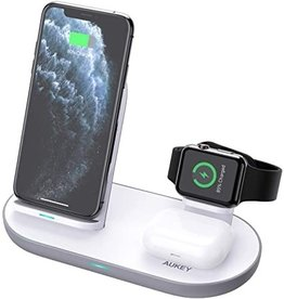 Aukey Aukey 3 in 1 Wireless Charging Station White