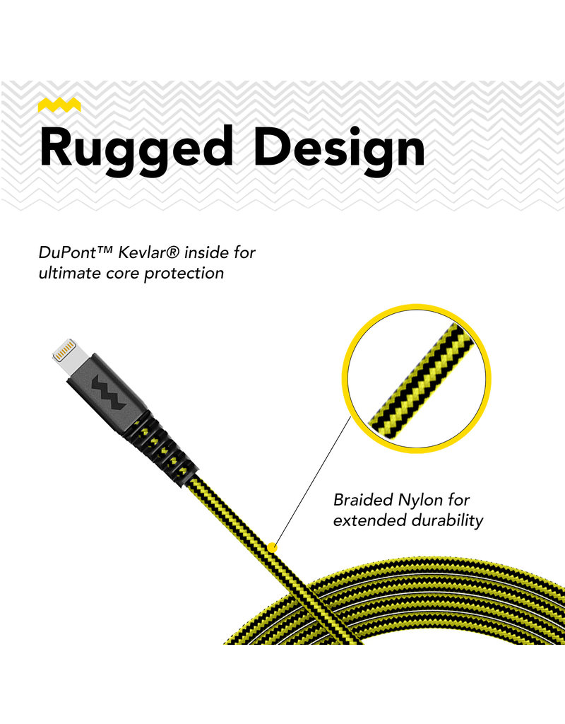 SoSkild SoSkild iPhone USB-A - Lightning Oplaadkabel 1.5m  - Zwart / Geel