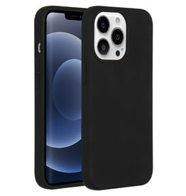 Accezz Accezz Liquid Silicone Backcover Zwart iPhone 13  Pro