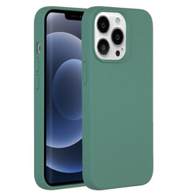 Accezz Accezz Liquid Silicone Backcover Donkergroen iPhone 13  Pro