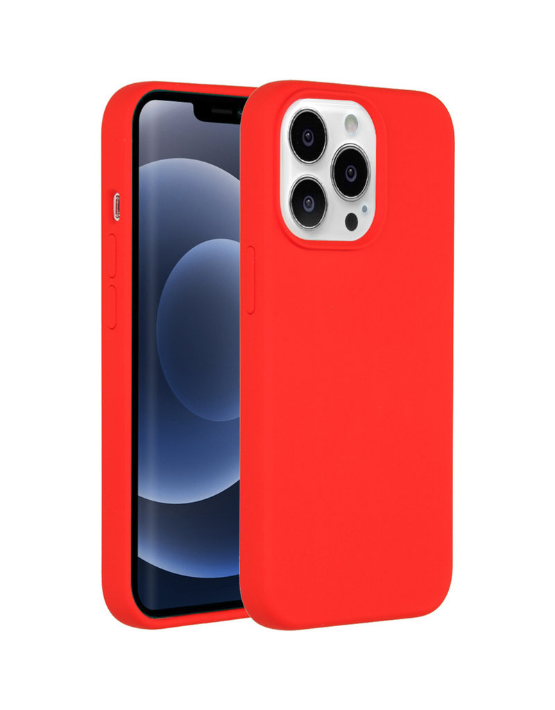 Accezz Accezz Liquid Silicone Backcover Rood iPhone 13  Pro