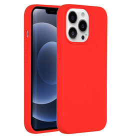Accezz Accezz Liquid Silicone Backcover Rood iPhone 13  Pro Max