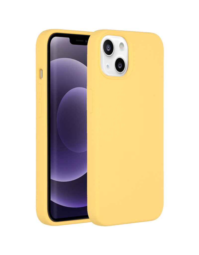 Accezz Accezz Liquid Silicone Backcover Geel iPhone 13