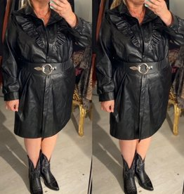 LEATHER LOOK FRIVOOL BLOUSE/ JASJE MATEN 46/48 TOT 54