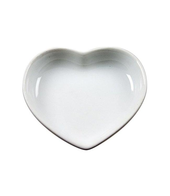 Cosy & Trendy Aperitiefschaaltje - Hartvormig - 5cm - Wit - Keramiek - (set van 12)