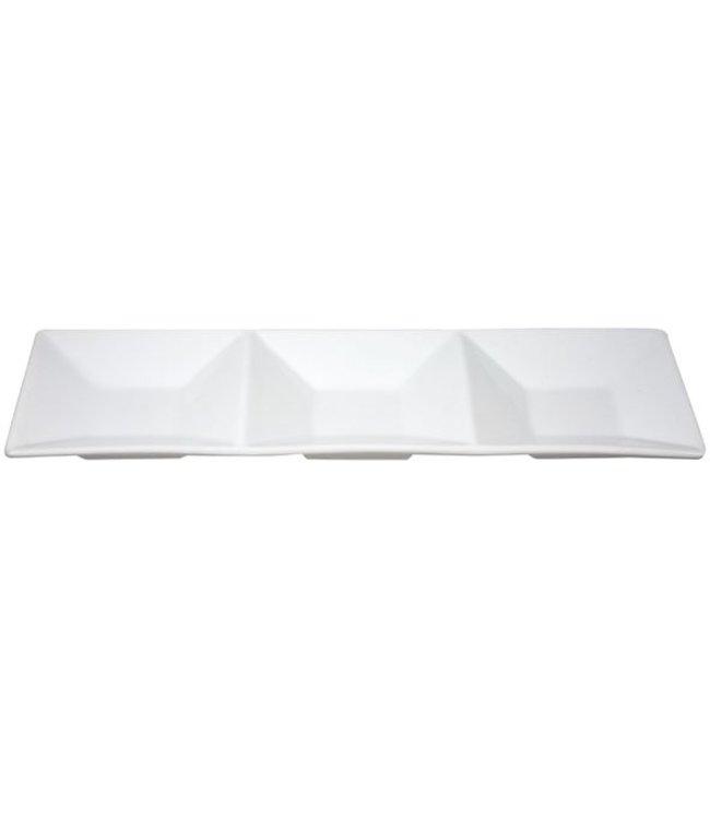 Cosy & Trendy Apero Schaal Wit 11x34,5cm 3 Vakjes - Aardewerk (set van 6)
