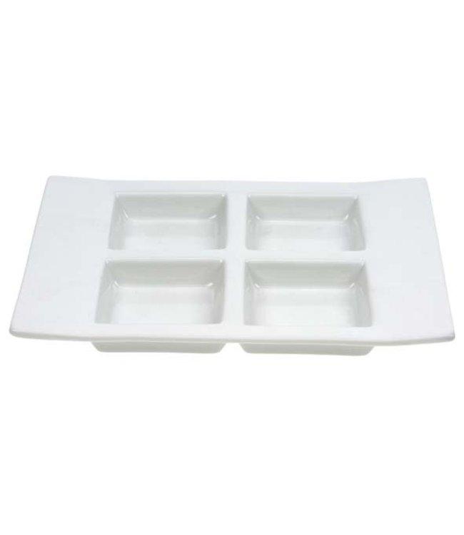 Cosy & Trendy Aperoschaaltje - Wit - 14,5x19cm - 4 vakjes - (set van 3)