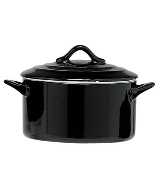 Cosy & Trendy Black Casserole With Lid 0,5l D12,5xh7cmround (set of 4)