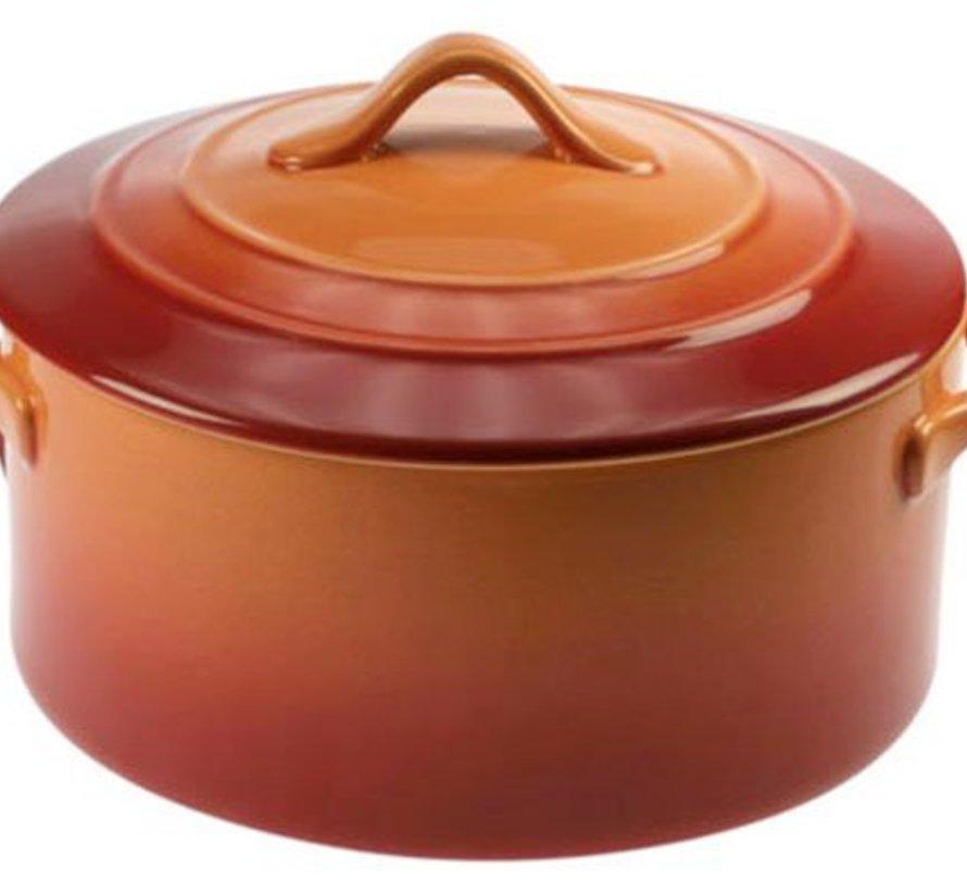 Orange Ovenschotel Met Deksel 0,2l D10xh5cm Rond (set van 6)