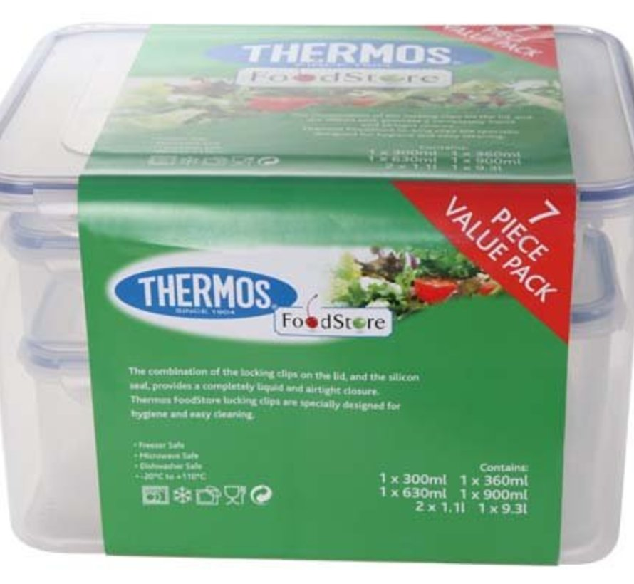 Airtight Set 7 St.  Vershouddoos1*9,3l, 2*1,1l,1*900ml,630ml,360ml,300ml