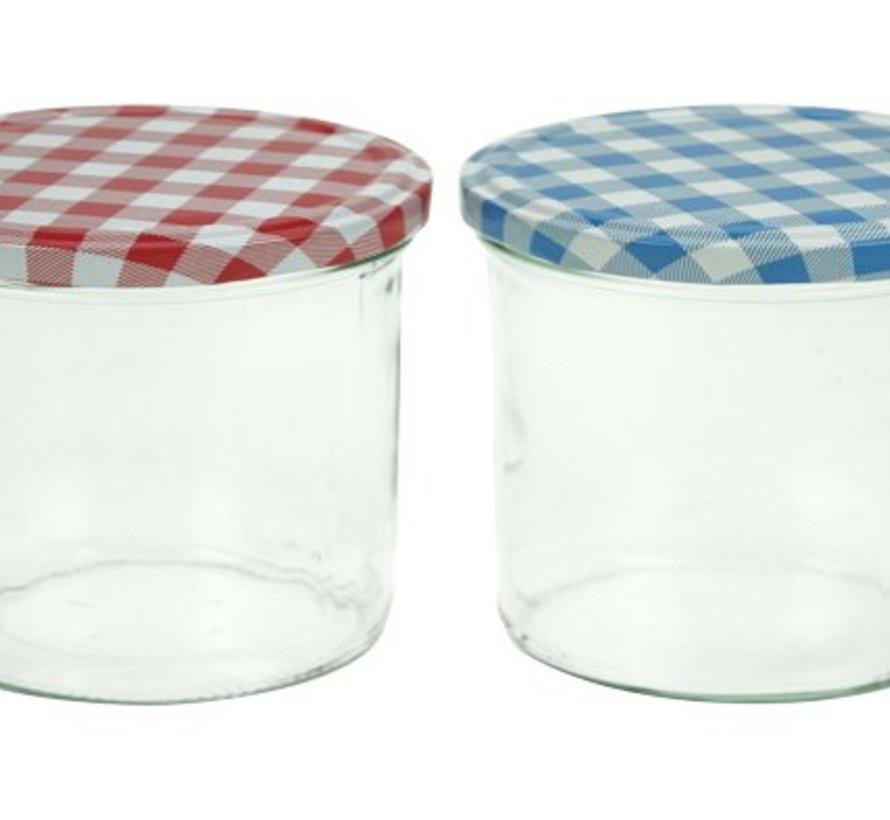 Confituurbokaal 230ml Set63x Deksel Blauw-wit + 3x Rood-wit