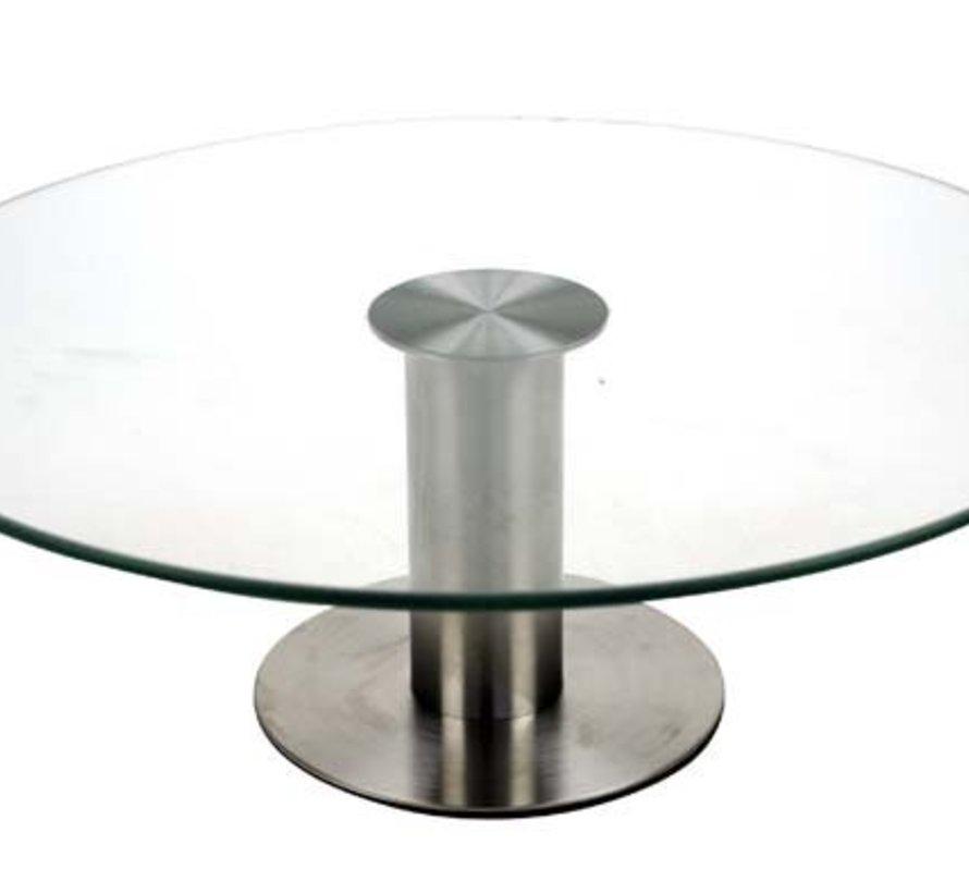Taartschotel Op Voet D30xh10cm Glas En Inox