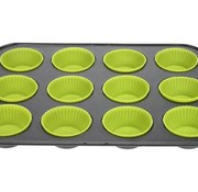 Cosy & Trendy Co&tr Bakvorm 12 Muffins Rh Metaal+silicone Groen 29,5x19,5x3cm