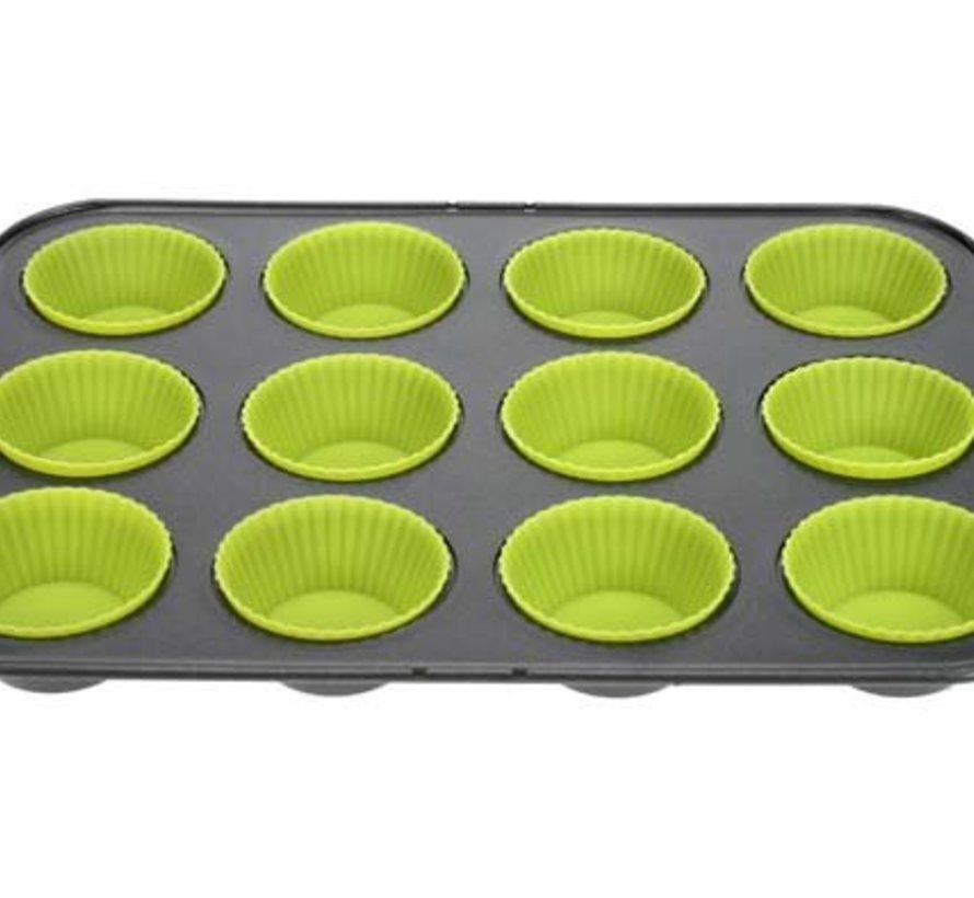 Co&tr Bakvorm 12 Muffins Rh Metaal+silicone Groen 29,5x19,5x3cm