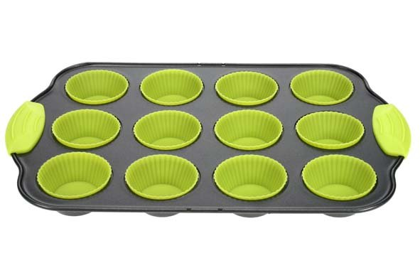 Cosy & Trendy Co&tr Bakvorm 12 Muffins Rh Metaal+silicone Groen 29,5x19,5x3cm