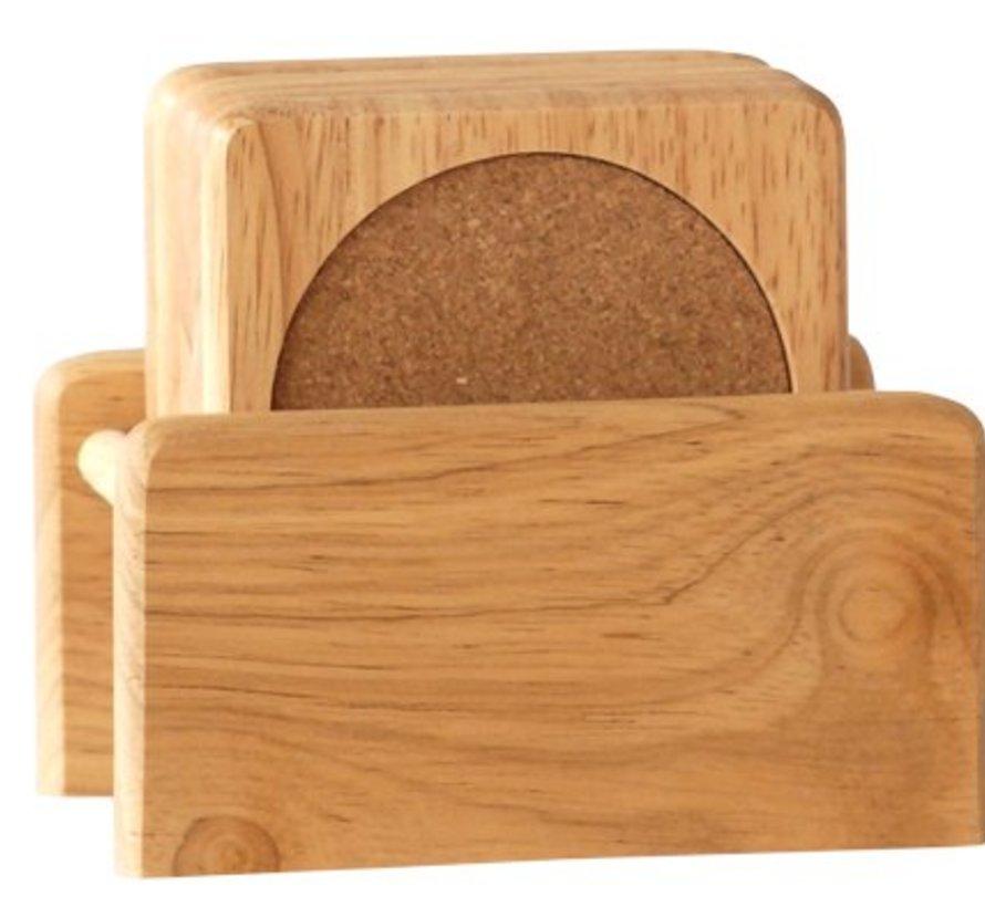 Set 6 onderzetters + houder in rubberwood
