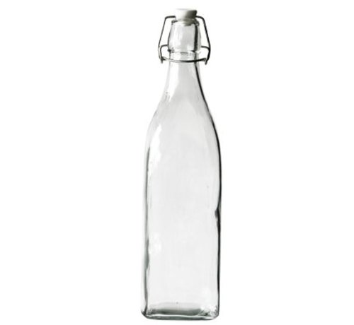 Cosy & Trendy Fles Met Stop Stop Wit 1,03l 8x8xh32cm Vierkant Glas