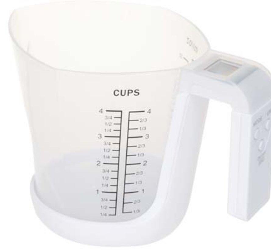 Keukenweegschaal Maatbeker Witcap 1l 21x14xh16,6cm 3kg 1gr Incl1x3v Lithium